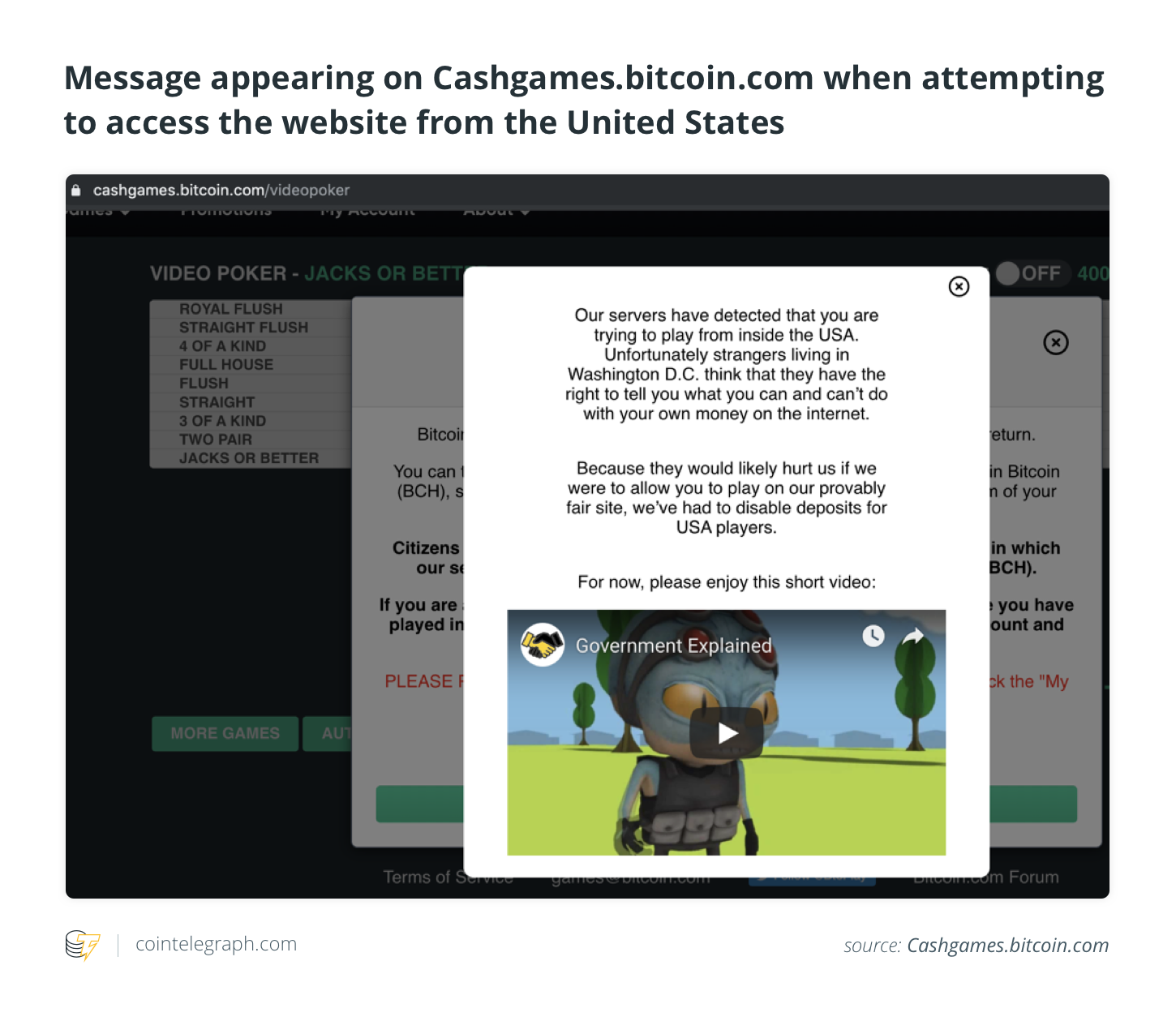 Message, appearing on Cashgames.bitcoin.com